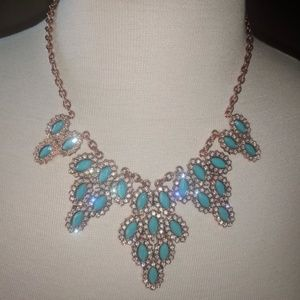 Rose gold and turquoise necklace